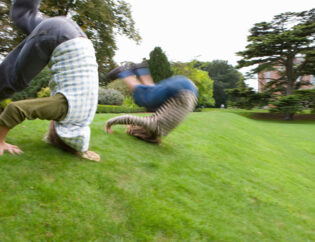 Summersault on the lawn